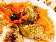 Постни зелеви сарми от кисело зеле, ориз и гъби печени на фурна